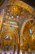 Medieval Byzantine style mosaics of the main aisle & dome of the Palatine Chapel, Cappella Palatina, Palermo, Italy .<br /> <br /> If you prefer you can also buy from our ALAMY PHOTO LIBRARY  Collection visit : https://www.alamy.com/portfolio/paul-williams-funkystock/byzantine-art-antiquities.html . Type -    Palatine     - into the LOWER SEARCH WITHIN GALLERY box. Refine search by adding background colour, place, museum etc<br /> <br /> Visit our BYZANTINE MOSAIC PHOTO COLLECTION for more   photos  to download or buy as prints https://funkystock.photoshelter.com/gallery-collection/Roman-Byzantine-Art-Artefacts-Antiquities-Historic-Sites-Pictures-Images-of/C0000lW_87AclrOk
