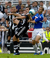 Photo: Jed Wee/Sportsbeat Images.<br /> Newcastle United v Sampdoria. Pre Season Friendly. 05/08/2007.<br /> <br /> Newcastle's Mark Viduka (C) flicks the ball past Sampdoria's Hugo Campagnaro.