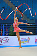 Shafizada Gulsum during qualifying at ribbon in Pesaro World Cup at Adriatic Arena on April 11, 2015. Gulsum was born in Baku on November 08, 1998. She is a rhythmic gymnast member of the Azerbaijan National Team.
