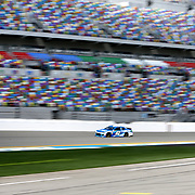 Kyle Larson, driver of the #42 Credit One Bank Chevrolet is seen on the track during practice for the 60th Annual NASCAR Daytona 500 auto race at Daytona International Speedway on Friday, February 16, 2018 in Daytona Beach, Florida.  (Alex Menendez via AP)