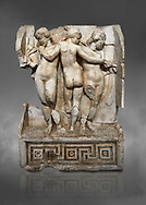 Roman Sebasteion relief  sculpture of the Three Graces, Aphrodisias Museum, Aphrodisias, Turkey.  Against a grey background.<br /> <br /> The Three Graces stand in their familiar hellenistic composition. They were handmaids of Aphrodite and appeared in this form on the decoration of her cult statue at Aphrodisias. Their names evoked their character: Euphrosyne (joy), Aglaia (Splendour) and Thaleia (Bloom). .<br /> <br /> If you prefer to buy from our ALAMY STOCK LIBRARY page at https://www.alamy.com/portfolio/paul-williams-funkystock/greco-roman-sculptures.html . Type -    Aphrodisias     - into LOWER SEARCH WITHIN GALLERY box - Refine search by adding a subject, place, background colour, museum etc.<br /> <br /> Visit our ROMAN WORLD PHOTO COLLECTIONS for more photos to download or buy as wall art prints https://funkystock.photoshelter.com/gallery-collection/The-Romans-Art-Artefacts-Antiquities-Historic-Sites-Pictures-Images/C0000r2uLJJo9_s0