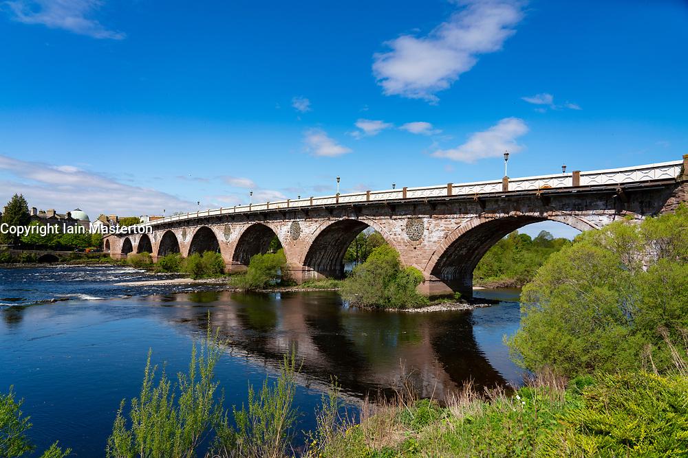View of Smeaton's Bridge crossing River Tay, in Perth ,Perthshire, Scotland, UK