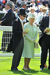 HM The QUEEN and JOHN WARREN at day 1 of the 2011 Royal Ascot Racing festival at Ascot Racecourse, Ascot, Berkshire on 14th June 2011.