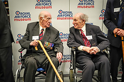 Alfred Guberman (left) and Jack Toper at Hidden Heroes, an event celebrating the part played by Jewish volunteers in the Royal Air Force during World War Two, at the RAF Museum in London. The event is part of celebrations to mark the centenary of the RAF. Photo date: Thursday, November 15, 2018. Photo credit should read: Richard Gray/EMPICS