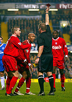 Photograph: Scott Heavey.<br /> Chelsea v Liverpool. FA Barclaycard Premiership.  07/01/2004.<br /> El-Hadji Diouf, (C) Emile Heskey (R) and Harry Kewell appeal to the linesman about the red card