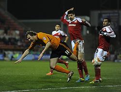 Wolverhampton Wanderers' Kevin McDonald gets fouled just outside the box. - Photo mandatory by-line: Alex James/JMP - Mobile: 07966 386802 11/03/2014 - SPORT - FOOTBALL - Swindon - County Ground - Swindon Town v Wolverhampton Wanderers - Sky Bet League One