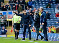 Football - 2021 / 2022 EFL Sky Bet Championship - Blackburn Rovers versus West Bromwich Albion - Ewood Park - Saturday 21st August 2021<br /> <br /> West Bromwich Albion manager Valerian Ismael makes his point to the fourth official, at Ewood Park.<br /> <br /> COLORSPORT/Alan Martin