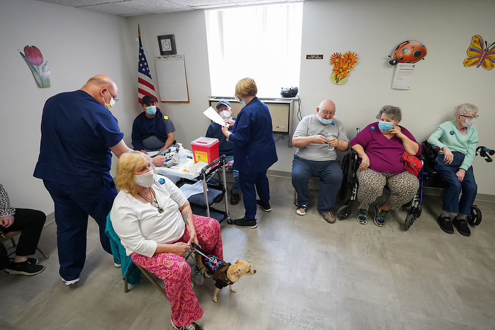 Lehigh Valley Health Network brought their mobile vaccination clinic to Majestic House on May 6, 2021, which offers low income housing to Seniors 55 years and over, in Tamaqua, Pennsylvania.