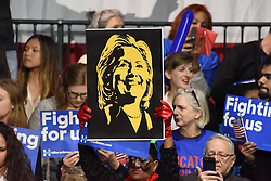 Caricature sign of candidate Clinton held aloft in audience. Hillary Rodham Clinton affirmed her status as front-runner for the Democratic presidential nomination in the wake of her Super Tuesday victories with a speech at Jacob Javits Center in Manhattan, New York City, NY, USA, March 2, 2016. Photo by Andy Katz/Pacific Press/ABACAPRESS.COM