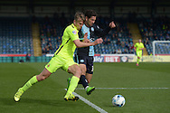 Rhys Oates of Hartlepool United (l) and Joe Jacobson of Wycombe Wanderers compete for the ball. Skybet football league two match, Wycombe Wanderers v Hartlepool Utd at Adams Park in High Wycombe, Bucks on Saturday 5th Sept 2015.<br /> pic by John Patrick Fletcher, Andrew Orchard sports photography.
