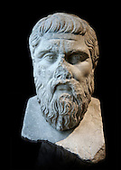 """Bust of Greek Philosopher Plato. A  2nd century AD Roman sculpture in marble. In  423-348 BC Greek sculptor Silanion created a bronze bust of Plato to adorn the gardens of the Acadamy in Athens, at the request of Persia Mithridite, according to Diogenes Laertius (De Vitis Philosophorum III, 25 citing Memorabilia Favorinus ). This Roman copy of the Greek original can be identified by the la two letters of """"Plato"""" inscribed on it.  Inv MR 415   (or Ma 2654), The Louvre Mueum, Paris."""