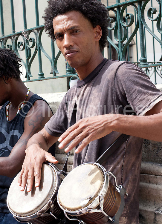 Musicians buskers playing in the street at San Telmo market, Buenos Aires, Federal District, Argentina.