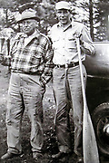 John LaRock (right) and Carl Pearson, ca. 1945. John La Rock (1897-1960) guided President Calvin Coolidge when President Coolidge summered at Cedar Island Lodge on the Brule River in 1928.