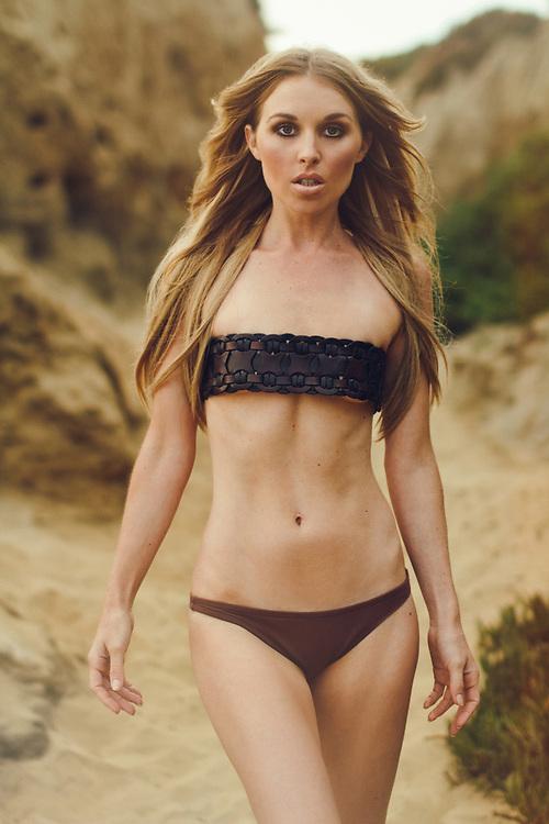 Tall Blonde Swimsuit Model shot in Carlsbad, California. Beach location at sunset. ©justinalexanderbartels.com