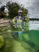 Scuba diver at Dutch Springs, Scuba Diving Resort in Bethlehem, Pennsylvania