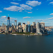 South part of Manhattan and Brooklyn bridge aerial panorama, New York