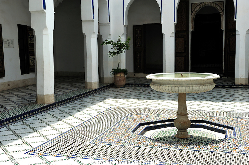 Fountain, at the Bahia Palace. It was built in the late 19th century, intended to be the greatest palace of its time. The name means 'brilliance'. As in other buildings of the period in other countries, it was intended to capture the essence of the Islamic and Moroccan style.
