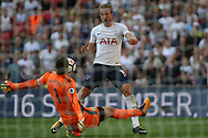 Harry Kane of Tottenham Hotspur has a close range shot at goal  saved by Burnley Goalkeeper Thomas Heaton. Premier league match, Tottenham Hotspur v Burnley at Wembley Stadium in London on Sunday 27th August 2017.<br /> pic by Steffan Bowen, Andrew Orchard sports photography.