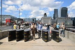 Anti terror barriers placed on London Bridge after 3 June terrorist attack, London 2017