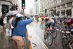 \abyvan of Drops Cycling Team accelerates out of a corner in the second lap of the Prudential Ride London Classique - a 66 km road race, starting and finishing in London on July 29, 2017, in London, United Kingdom. (Photo by Balint Hamvas/Velofocus.com)
