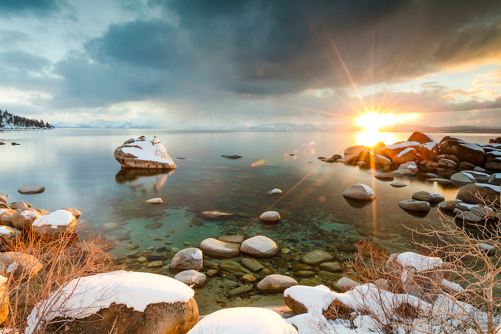 """""""Bonsai Rock Sunset 7"""" - Sunset photograph of the famous Bonsai Rock, coated in snow at Lake Tahoe."""