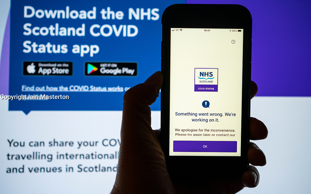 Edinburgh, Scotland, UK. 30th September 2021. Scottish Government launches new Covid-19 status app , a digital vaccine passport, on Apple and Google app stores, Many users found the app unusable however with identity verification system not working, The app will be required to access nightclubs in Scotland from Friday but the Government announced a 2 week delay to implementation. Pic; error message during ID verification on  the new NHS app.  Iain Masterton/Alamy Live News.