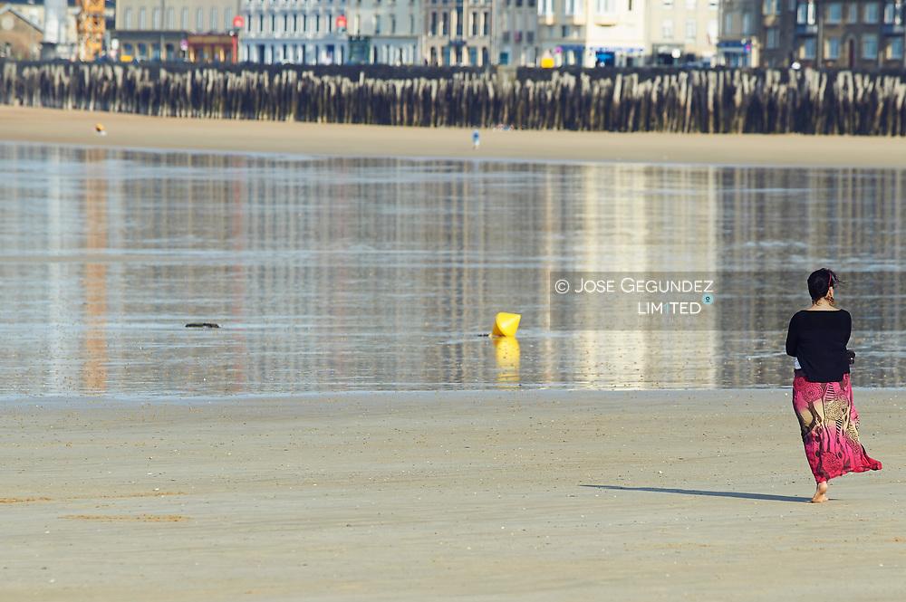 Woman on the Beach at Saint Malo