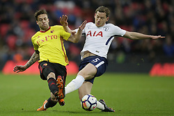 BRITAIN-LONDON-FOOTBALL-PREMIER LEAGUE-TOTTENHAM HOTSPUR VS WATFORD.(180430) -- LONDON, April 30, 2018  Tottenham Hotspur's Jan Vertonghen (R) competes for the ball with Watford's Kiko Femenía during the Premier League football match between Tottenham Hotspur and Watford at Wembley Stadium in London, Britain on April 30, 2018.  Tottenham Hotspur won 2-0.  FOR EDITORIAL USE ONLY. NOT FOR SALE FOR MARKETING OR ADVERTISING CAMPAIGNS. NO USE WITH UNAUTHORIZED AUDIO, VIDEO, DATA, FIXTURE LISTS, CLUB/LEAGUE LOGOS OR ''LIVE'' SERVICES. ONLINE IN-MATCH USE LIMITED TO 45 IMAGES, NO VIDEO EMULATION. NO USE IN BETTING, GAMES OR SINGLE CLUB/LEAGUE/PLAYER PUBLICATIONS. (Credit Image: © Tim Ireland/Xinhua via ZUMA Wire)