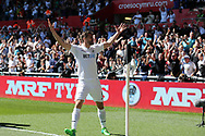 Fernando Llorente of Swansea city (9) celebrates after he scores his teams 1st goal.  Premier league match, Swansea city v Stoke City at the Liberty Stadium in Swansea, South Wales on Saturday 22nd April 2017.<br /> pic by Andrew Orchard, Andrew Orchard sports photography.