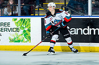KELOWNA, BC - MARCH 6: Pavel Novak #11 of the Kelowna Rockets looks to pass the puck against the Seattle Thunderbirds at Prospera Place on March 6, 2020 in Kelowna, Canada. (Photo by Marissa Baecker/Shoot the Breeze)