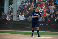 KELOWNA, CANADA - JUNE 28: Retired NHL player Rene Bourque steps up to plate during the opening charity game of the Home Base Slo-Pitch Tournament fundraiser for the Kelowna General Hospital Foundation JoeAnna's House on June 28, 2019 at Elk's Stadium in Kelowna, British Columbia, Canada.  (Photo by Marissa Baecker/Shoot the Breeze)