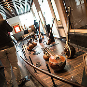 The Musee des Instruments de Musique (Musical Instrument Museum) in Brussels contains exhibits containing more than 2000 musical instruments. Displays include historical, exotic, and traditional cultural instruments from around the world. Visitors to the museum are given handheld audio guides that play musical demonstrations of many of the instruments. The museum is housed in the distinctive Old England Building.