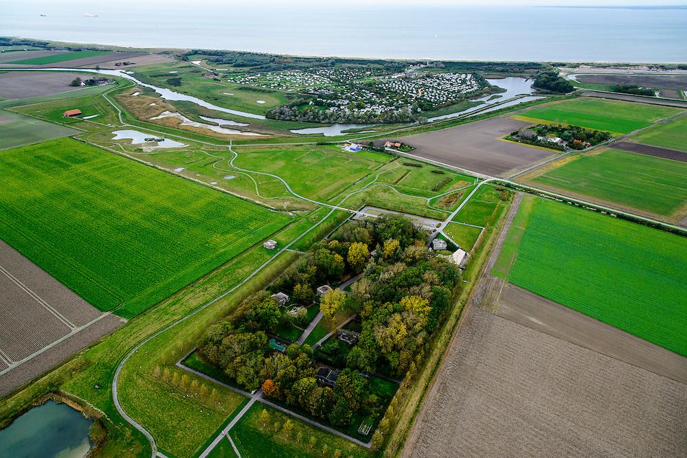 Nederland, Zeeland, Zeeuws-Vlaanderen, 19-10-2014; Groede, Het Vlaemsche Duyn. Bunkerdorp, relict uit de Tweede Wereldoorlog, nu ook hotel. In de achtergrond Strandcamping Groede.<br /> <br /> QQQ<br /> luchtfoto (toeslag op standard tarieven);<br /> aerial photo (additional fee required);<br /> copyright foto/photo Siebe Swart
