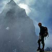 John Fischer (MR) looks at Mount Humphreys from the crest of California's  Sierra Nevada range.