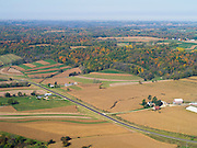 Aerial view of Richland County, Wisconsin, with a hog farm in the foreground, near Boydtown, Wisconsin.
