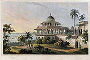 The Chalees Satoon in the Fort of Allahabad on the River Jumna, July 1795 The Chalees Satoon, or the forty pillars, is a pavilion attached to the palace of Allahabad, and was erected by the Emperor Akbar. It is built of grey granite and freestone. From the book ' Oriental scenery: one hundred and fifty views of the architecture, antiquities and landscape scenery of Hindoostan ' by Thomas Daniell, and William Daniell, Published in London by the Authors January 1, 1812