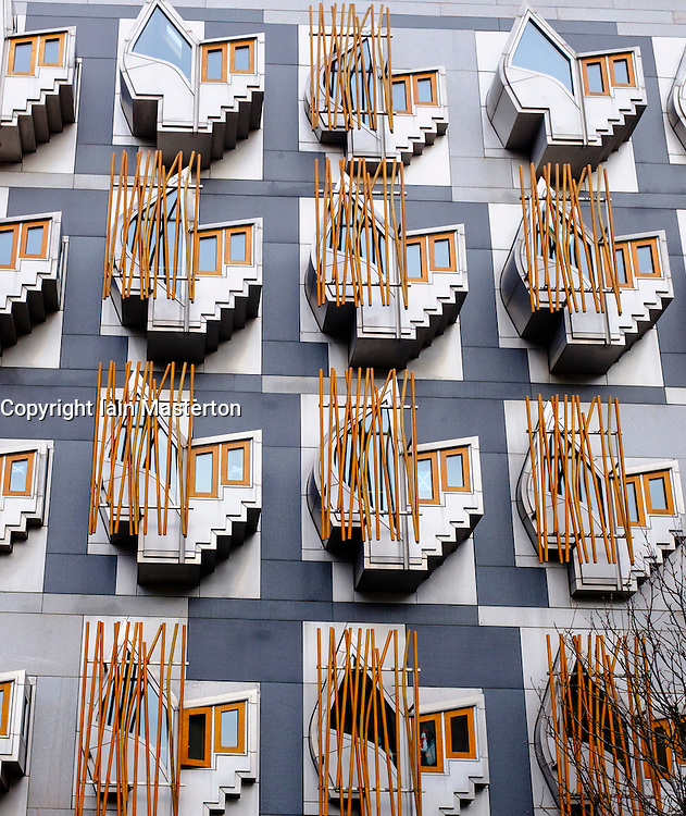 Exterior view of architectural details of Scottish Parliament building at Holyrood in EdinburghScotland United Kingdom