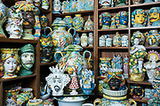 Display of traditional ceramics in ancient artisan ceramic shop in the city of Taormina, East Sicily, Italy