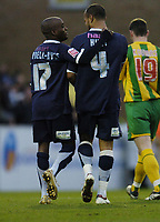 Photo: Olly Greenwood.<br />Southend United v West Bromwich Albion. Coca Cola Championship. 01/01/2007. Southend's Lewis Hunt celebrates scoring with fellow scorer Jamal Campbnell-Ryce