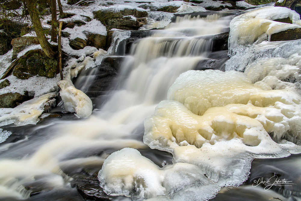 Little High Falls on Pott's Creek in winter, Bracebridge, Ontario, Canada