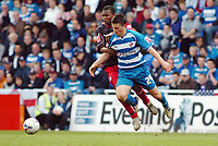 Photo: Kevin Poolman.<br />Reading v Stoke City. Coca Cola Championship. 17/04/2006. Reading's Shane Long) and Junior go after the ball.