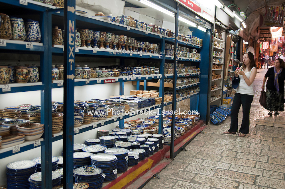 Israel, Jerusalem, Old City The Market Traditionally decorated ceramic plates and dishes on sale