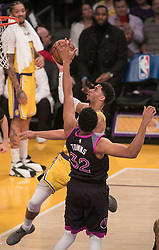 January 24, 2019 - Los Angeles, California, U.S - Karl-Anthony Towns #32 of the Minneapolis Timberwolves defends against Josh Hart #3 of the Los Angeles Lakers as he drives to the basket during their NBA game on Thursday January 24, 2019 at the Staples Center in Los Angeles, California. Lakers lose to Timberwolves, 105-120. (Credit Image: © Prensa Internacional via ZUMA Wire)