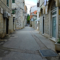 Pedestrian backstreets & shops;<br />Split, Croatia. 2018