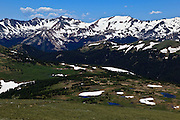 USA, Colorado, Rocky Mountain National Park, Never Summer Mountains from Trail Ridge Road.