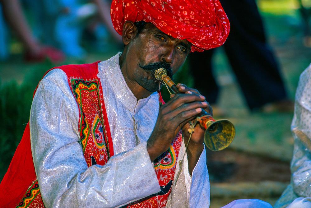 Rajasthani musician at the Pushkar Fair (camel fair), Pushkar, Rajasthan, India