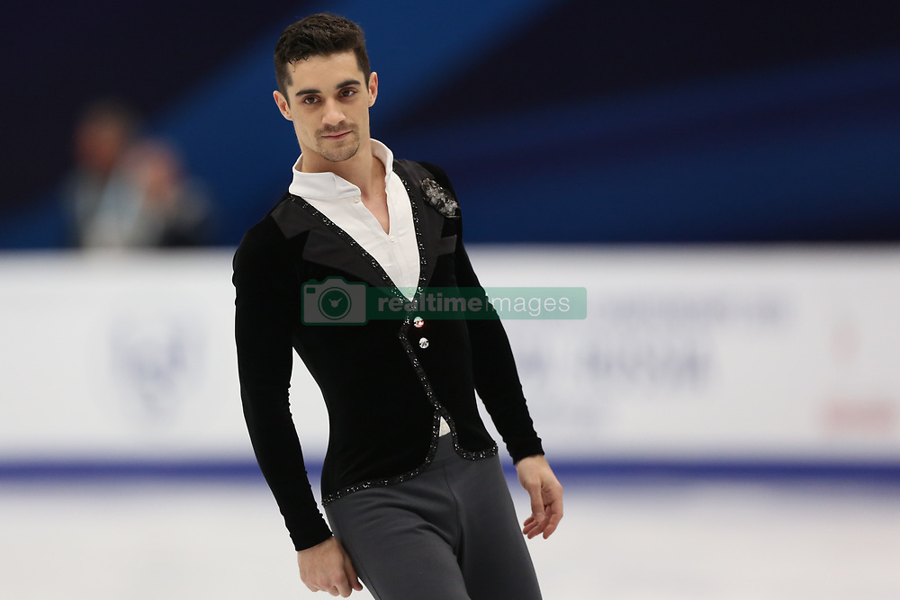 January 17, 2018 - Moscow, Russia - Figure skater Javier Fernandez of Spain performs his short program during a men's singles competition at the 2018 ISU European Figure Skating Championships, at Megasport Arena in Moscow, Russia  on January 17, 2018. (Credit Image: © Igor Russak/NurPhoto via ZUMA Press)