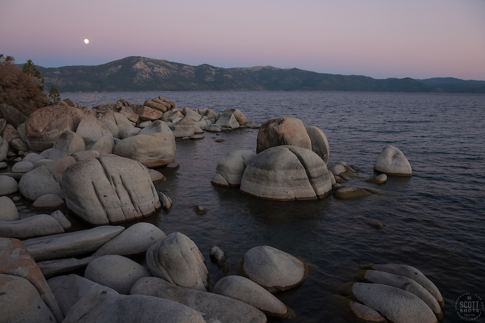 """""""Full Moon Over Lake Tahoe 13"""" -These boulders, full moon, and alpenglow sunset were photographed at Crystal Point in Crystal Bay, Lake Tahoe."""