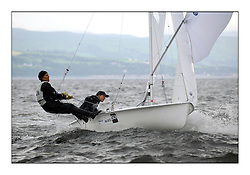 470 Class European Championships Largs - Day 1.Racing in grey and variable conditions on the Clyde.,.SUI12, Fiona TESTUZ, Anne-sophie THILO, Club Nautique Pully
