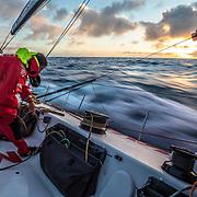 Leg 02, Lisbon to Cape Town, day 14, on board MAPFRE, Blair Tuke tiding ropes. Photo by Ugo Fonolla/Volvo Ocean Race. 18 November, 2017
